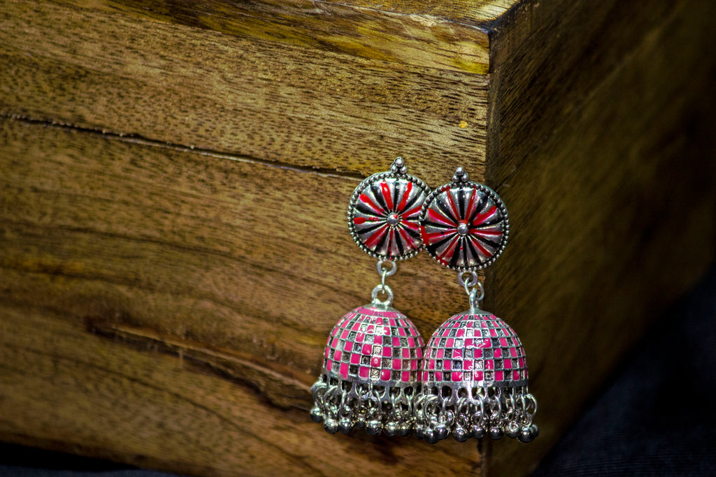 Adorable Pink Hand-painted Jhumka - Panigh