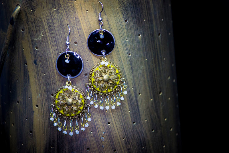 Black with Brass Stud Hand-painted Earring - Panigh Tradition in You Jewellery