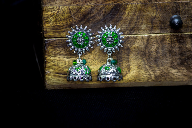 Green Light Weight Hand-painted Earring - Panigh Tradition in You Jewellery