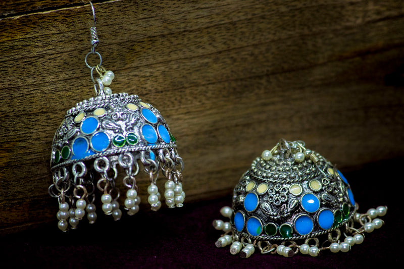 Vibrant Hand-painted Jhumka with Pearls - Panigh Tradition in You Jewellery
