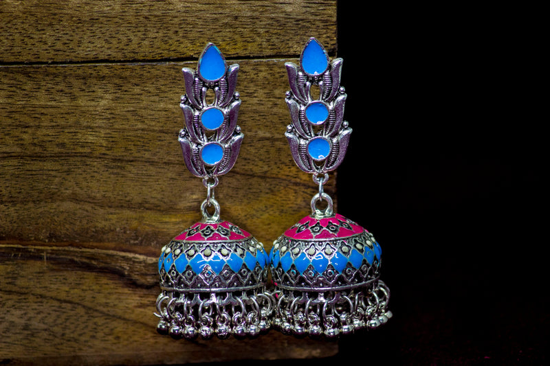 Beautiful Pink-Blue Hand-painted Jhumka - Panigh Tradition in You Jewellery