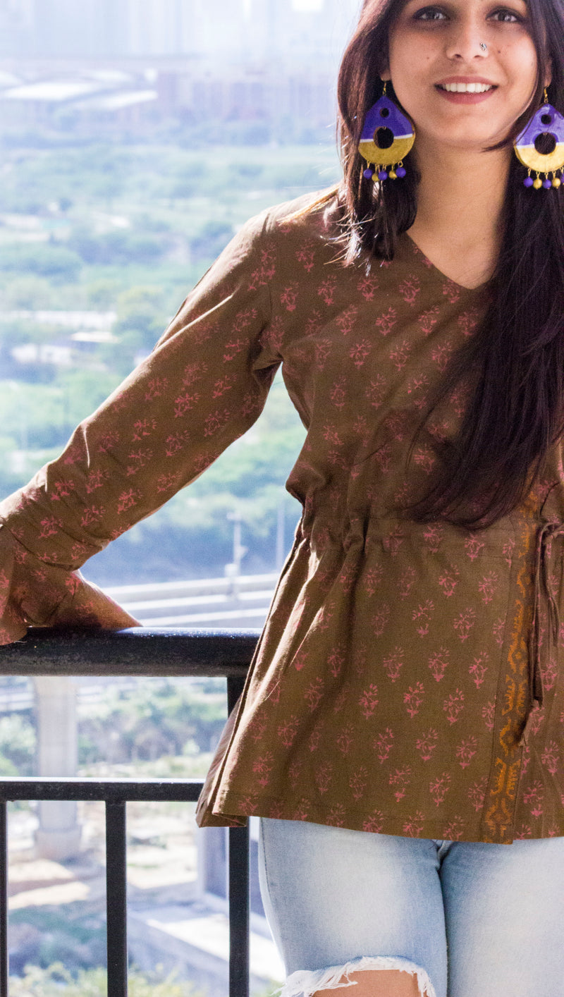 Brown Cotton Block Print Kurta - Panigh