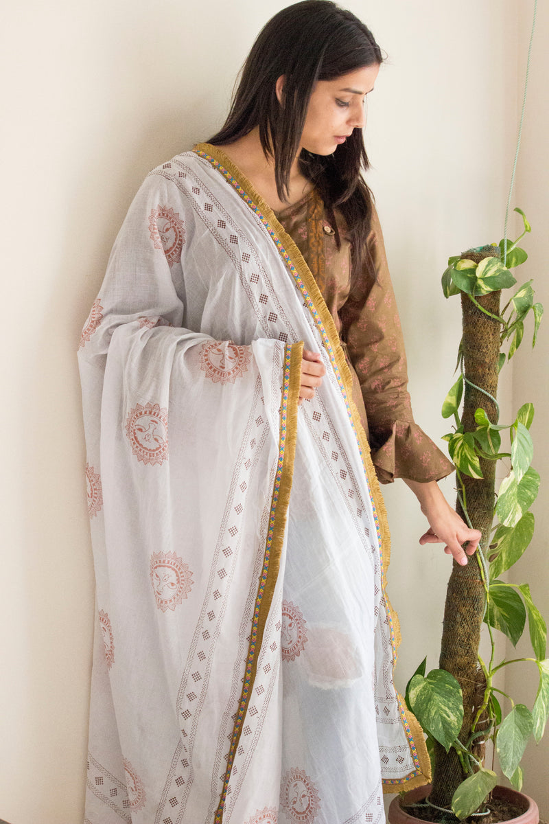 White-Brown Block Print Dupatta - Panigh Tradition in You Jewellery
