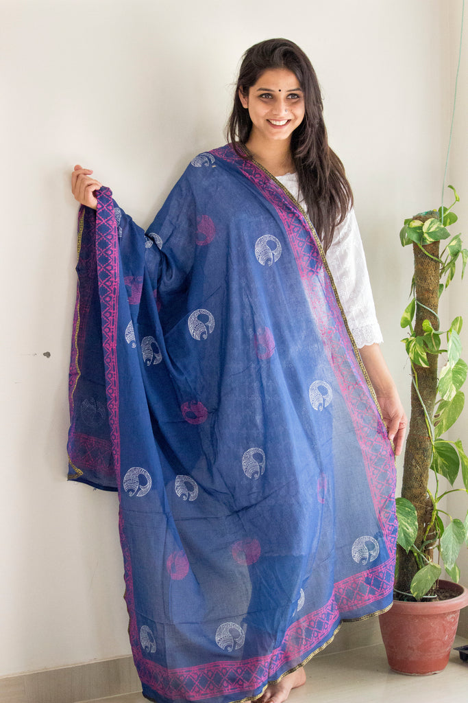 Midnight-Blue Block Print Dupatta - Panigh