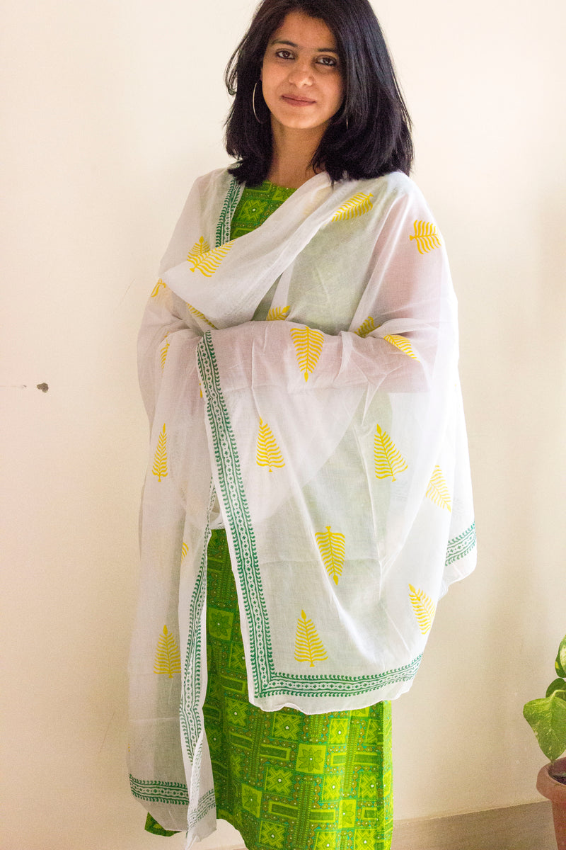 White-Yellow Block Print Dupatta - Panigh Tradition in You Jewellery