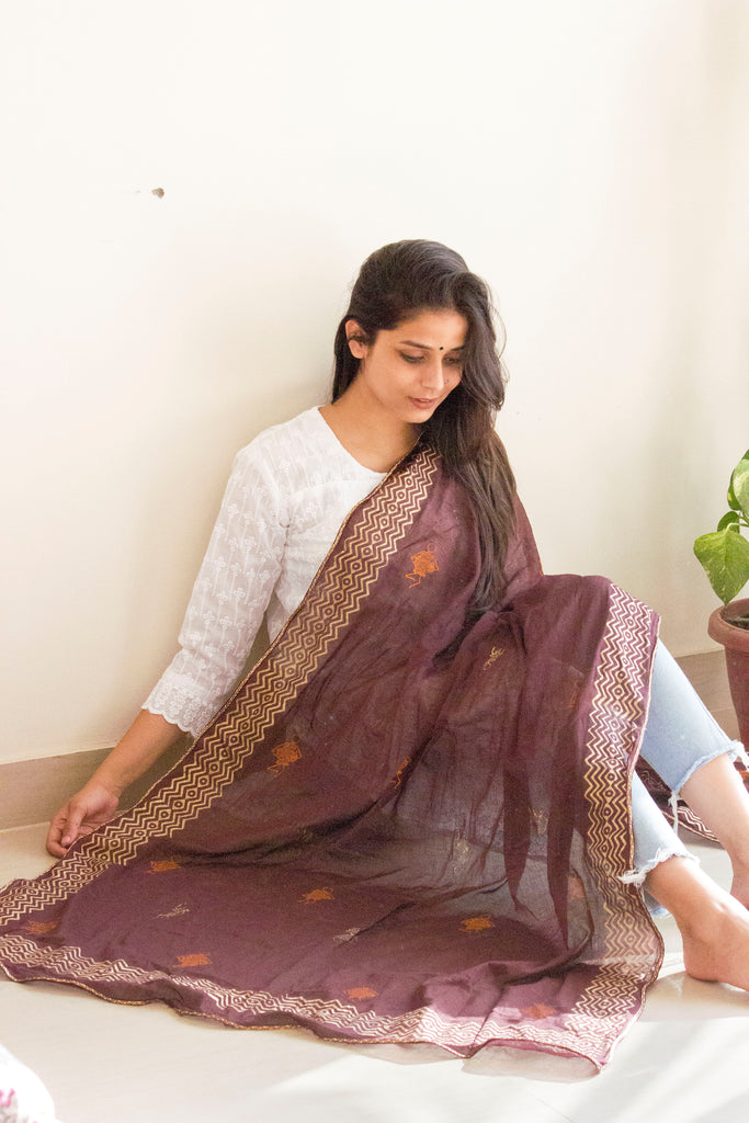 Coffee Brown Block Print Dupatta - Panigh