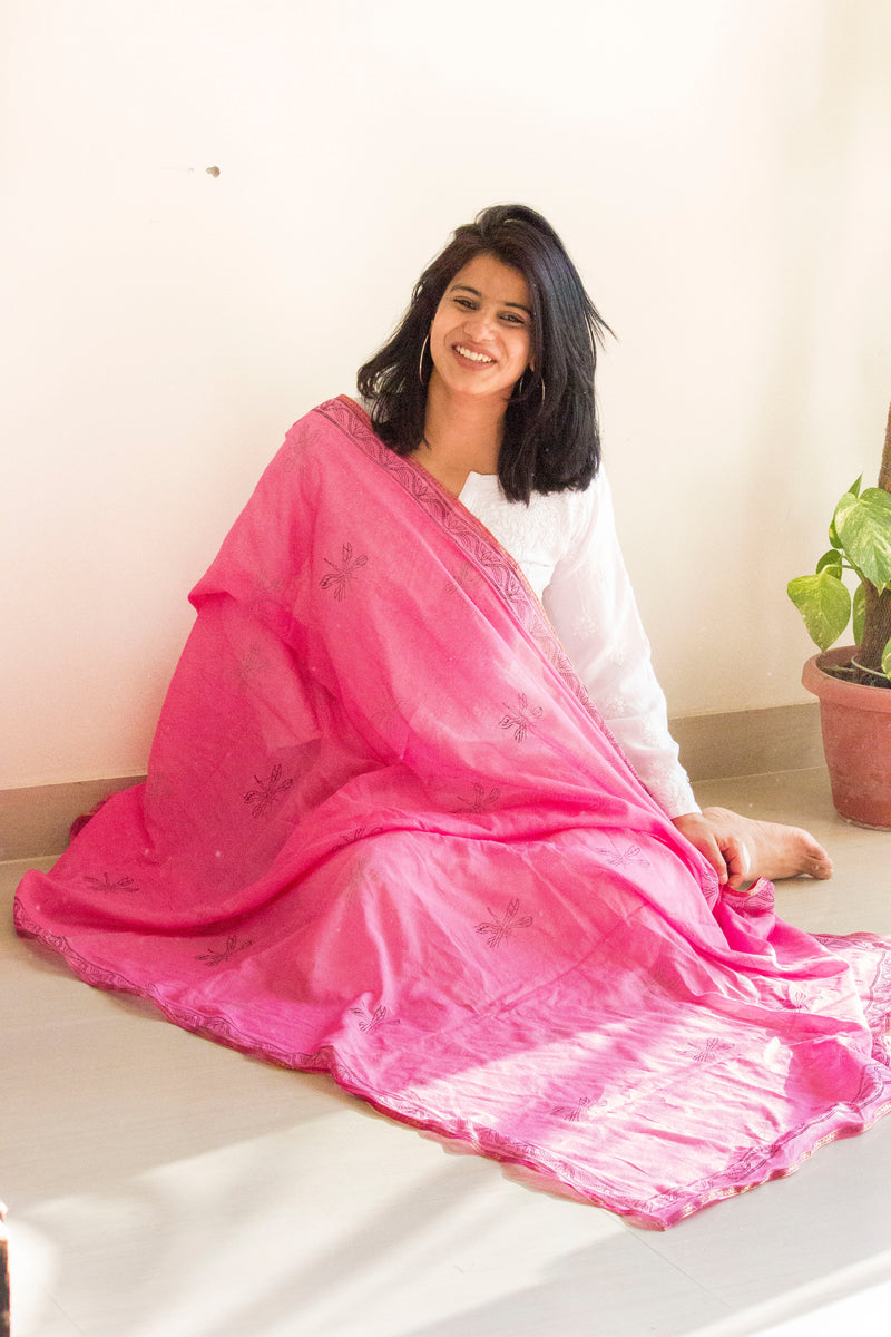 Pink Block Print Dupatta - Panigh Tradition in You Jewellery