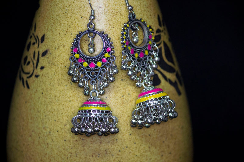 Pink-Yellow Dangling Hand-painted Jhumka - Panigh