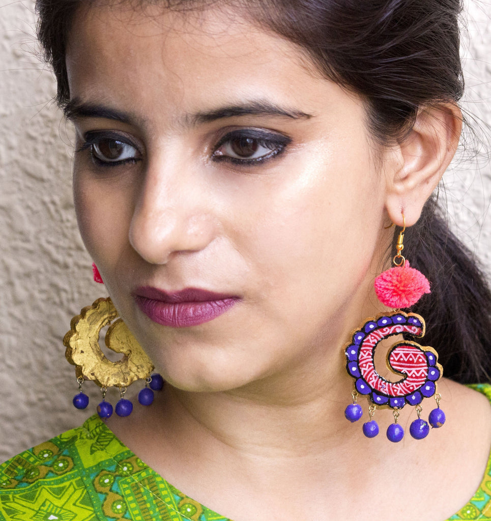 Vibrant Hand-Crafted Terracotta Earring - Panigh
