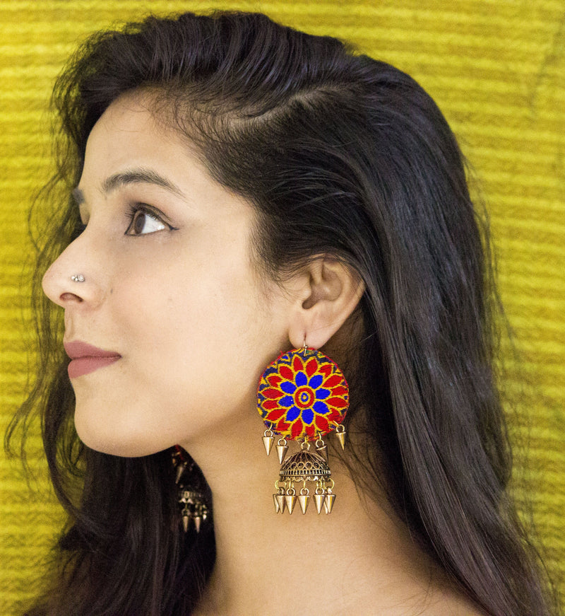 Vibrant Red-Blue Fabric Earring with Jhumki - Panigh