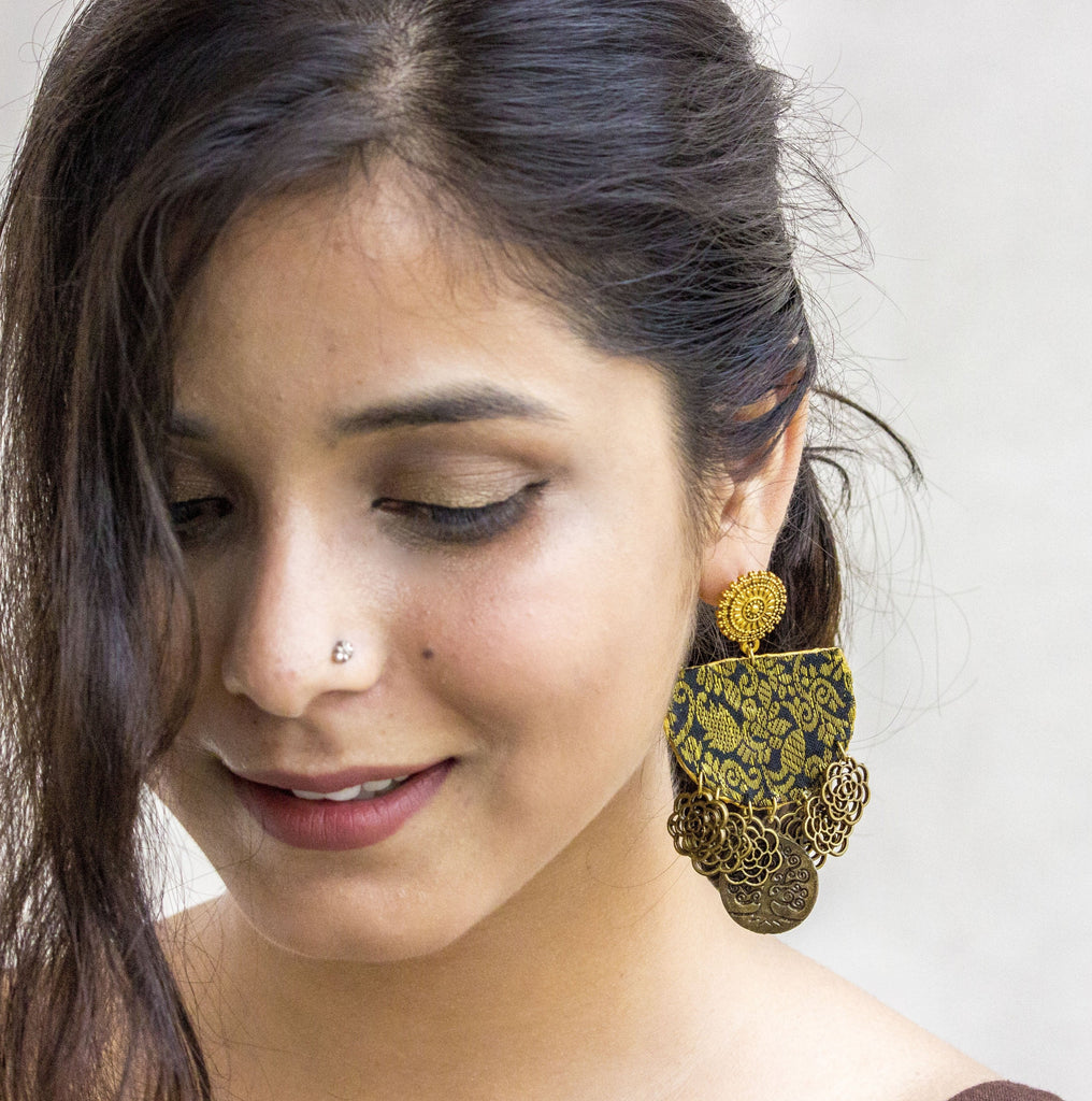 Royal Fabric Earring Embellished with coins - Panigh Tradition in You Jewellery