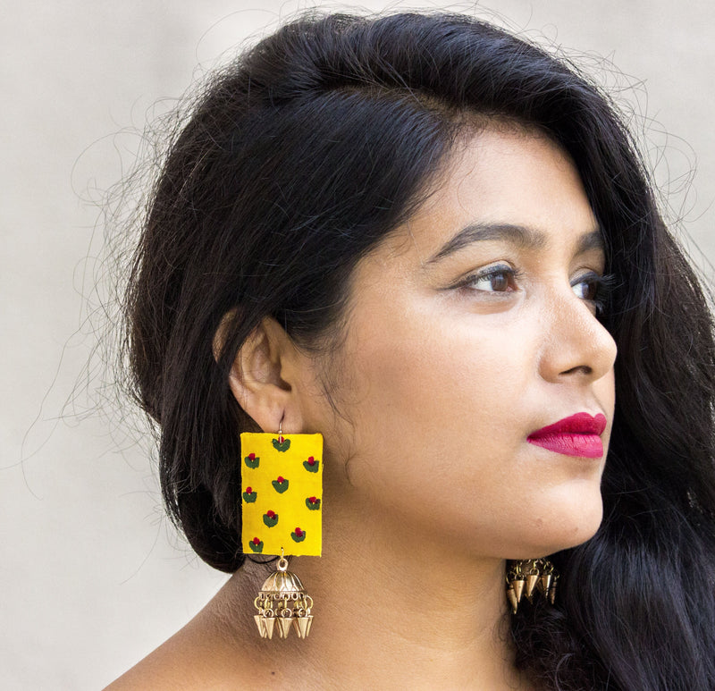 Yellow Fabric Earring with Jhumki - Panigh