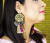 Beautiful Fabric Earring Embellished With Pearls - Panigh