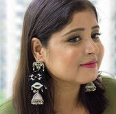 Black Fabric Earring with jhumki - Panigh