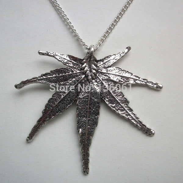 Vintage Silver Hemp Leaf Charm Pendant and Necklace