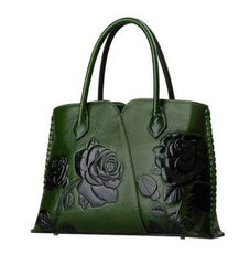 Genuine Leather Embossed Handbag