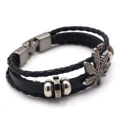 Cannabis Leaves Multilayer Bangle Leather Bracelet