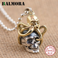 BALMORA New Solid 925 Sterling Silver Skull & Octopus Pendants for Women Men Vintage Skeleton Silver Jewelry Accessories SY13206