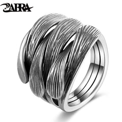 Unisex Sterling Silver 925 Adjustable Vintage Intertwine Open Ring