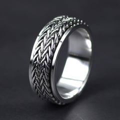 .925 Sterling Silver Handmade Hemp Imprint Ring