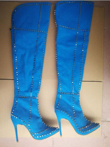 Women Thigh High Spike Boots Over the Knee