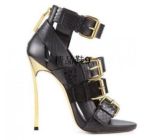 Sexy Four Buckle Strappy High Heels Women Gladiator Sandals