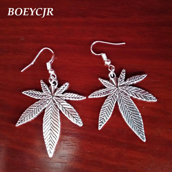 Cannabis Leaf Metal Drop Earrings