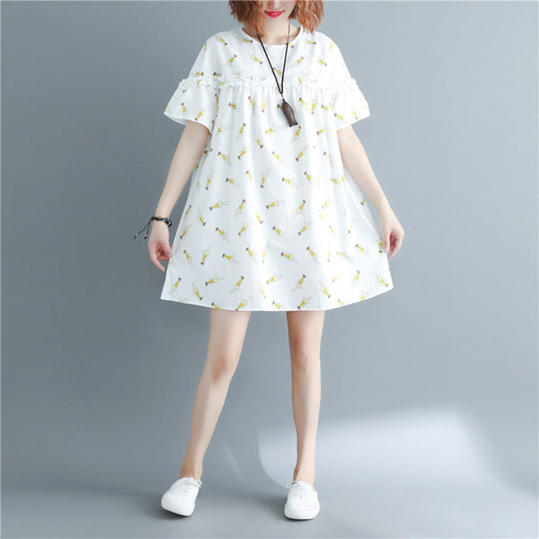 Cotton Casual Short Sleeve Loose Print Mini Dress