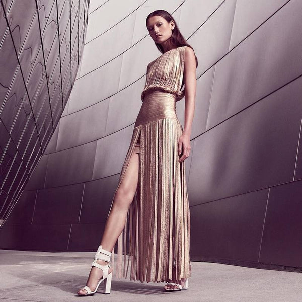 Foil Stamp Sleeveless Bandage Tassels Maxi Dress