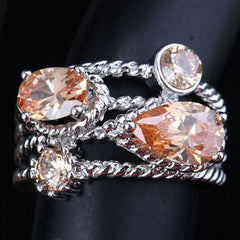 Champagne Cubic Zirconia Browm Morganite Gem 925 Sterling Silver Solitaire Ring
