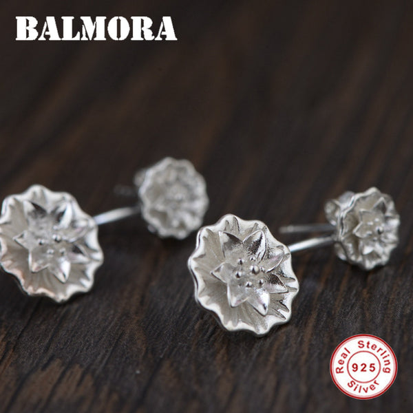 100% .925 Sterling Silver Flower Stud Earrings