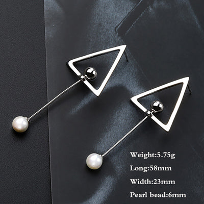 100% .925 Sterling Silver Simulated Pearl Geometric Dangle Drop Earrings
