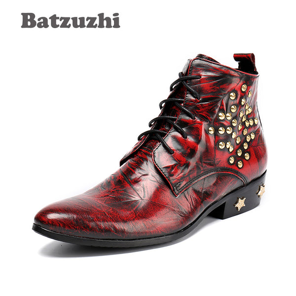 Men Leather Boots, High Fashion Pointed Toe, Wine Red