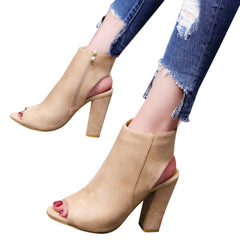 Suede Peep Toe Wedge High Heeled Shoes