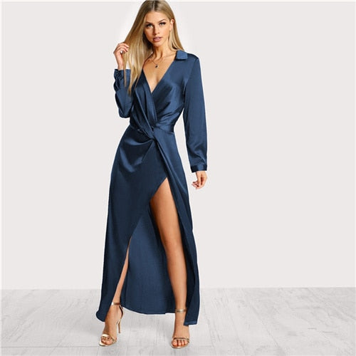 Long Sleeve Satin Wrap Party Dress