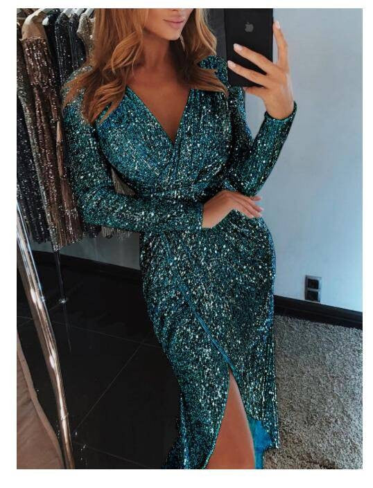 Long Sleeve Sexy V Neck Sequins Evening Party Dress