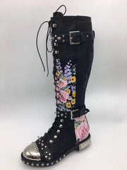 Studded Floral Motorcycle Boots