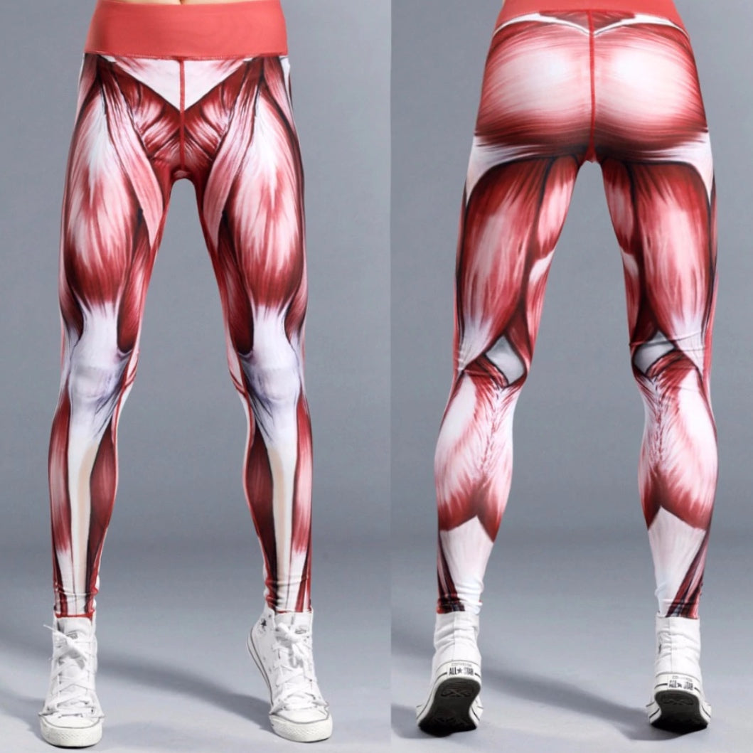 Muscle Gym Leggings with Flesh Print