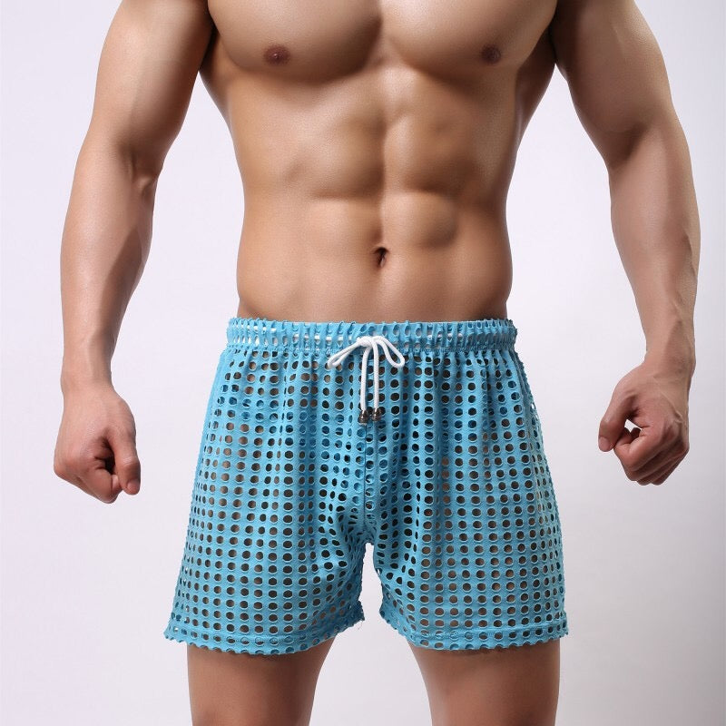 Sydney Mesh Lounge Shorts with holes seethrough blue