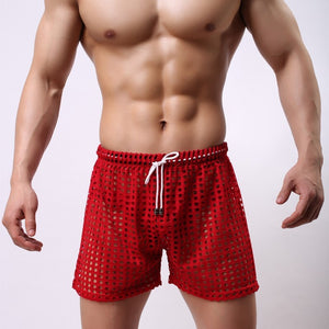 Sydney Mesh Lounge Shorts with holes seethrough red