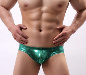 Metallic Hologram Briefs for Pride and Party Green