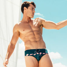 Load image into Gallery viewer, Miami Swim Trunks Briefs with Flamingo Dark Blue