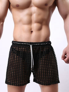 Sydney Mesh Lounge Shorts with holes seethrough black