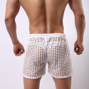 Sydney Mesh Lounge Shorts with holes seethrough white