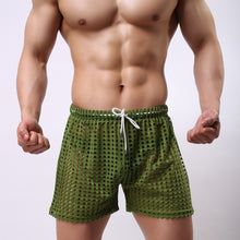 Load image into Gallery viewer, Sydney Mesh Lounge Shorts with holes seethrough green