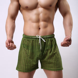 Sydney Mesh Lounge Shorts with holes seethrough green