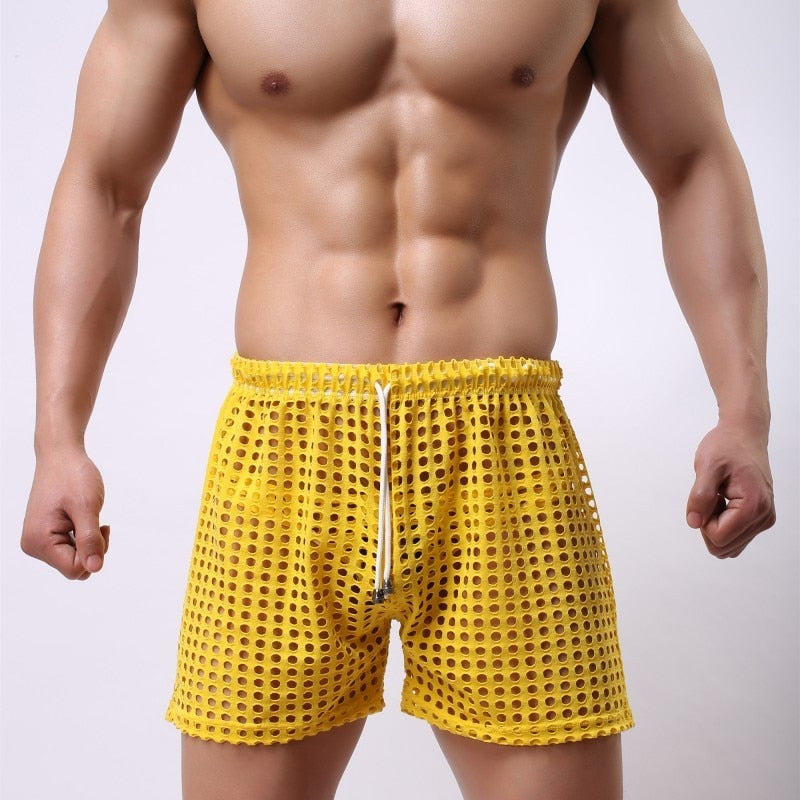 Sydney Mesh Lounge Shorts with holes seethrough yellow