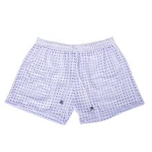 Load image into Gallery viewer, Sydney Mesh Lounge Shorts with holes seethrough white
