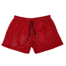 Load image into Gallery viewer, Sydney Mesh Lounge Shorts with holes seethrough red