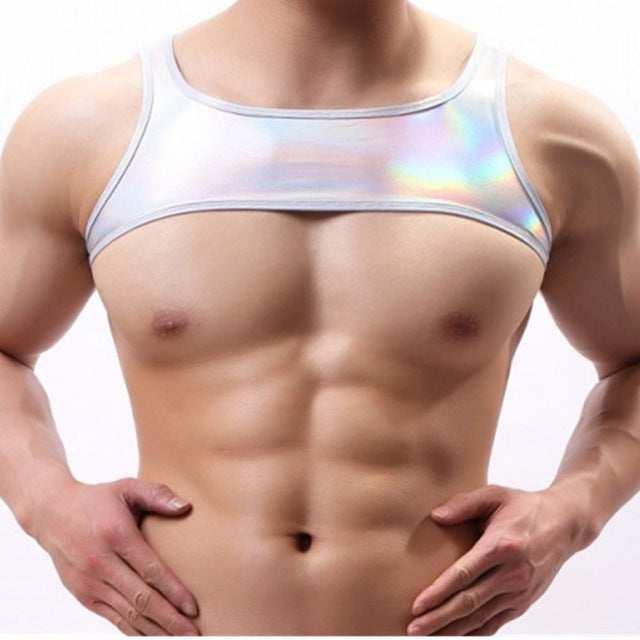 Metallic Hologram Harness Top for Pride and Party Silver
